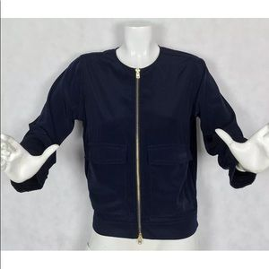J Crew Bomber jacket size XS nave blue casual zip